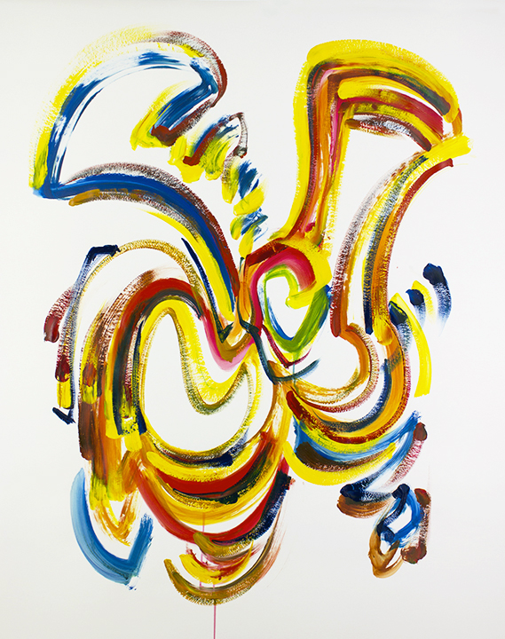 "Theme, Variations and Improvisation, live improv painting on paper to score of Eric Klaxton, 48"" x 36""      $850"