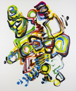 "Broad Strokes, improv painting on paper, score by Rob Gerry, 48""x36""  $850"