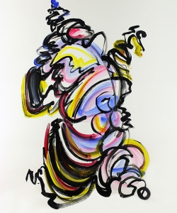 "Body and Soul, improv painting on paper, painted at Bouy Gallery in 2012, 48""x36""   SOLD"