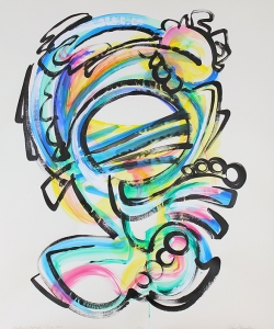 "Shel, improv painting on paper, based on a poem by Shel Silverstein, sung by Taylor O'Donnell, 48""x36""  SOLD"