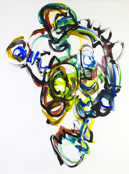 "Broad Strokes (rehearsal) improv painting on paper, score by  Rob Gerry, 48""x 36""    $850"