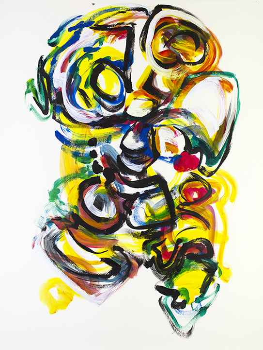 "Taking Shape (rehearsal painting), live improv painting on paper to score of Matt Langley, 48"" x 36""      $850"