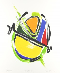 Roger Goldenberg's Visual Jazz, Monotype Gallery B  Sales has prints pulled from shaped plates. Their style riffs on Goldenberg's shaped visual jazz paintings Joy Spring