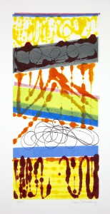 Roger Goldenberg's Visual Jazz New Monotypes Gallery A Salea offers new monotypes that are inspired by Geology, Weather and Climate Change Aglow
