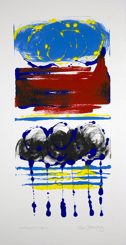Roger Goldenberg's Visual Jazz New Monotypes Gallery A offers new monotypes that are inspired by Geology, Weather and Climate Change, Alchemist's Spin