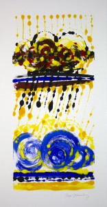Roger Goldenberg's Visual Jazz New Monotypes Gallery A Sales offers new monotypes that are inspired by Geology, Weather and Climate Change Cloud Burst