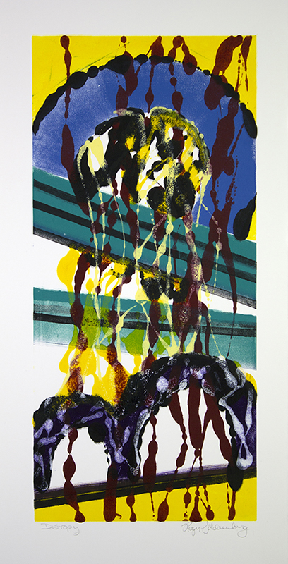 Roger Goldenberg's Visual Jazz New Monotypes Gallery A offers new monotypes that are inspired by Geology, Weather and Climate Change, Distrophy