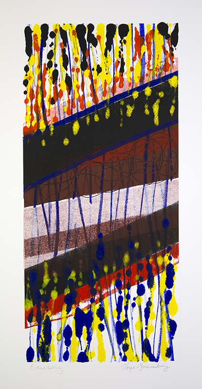 Roger Goldenberg's Visual Jazz New Monotypes Gallery B offers new monotypes that are inspired by Geology, Weather and Climate Change Evensong