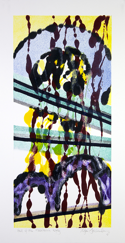 Roger Goldenberg's Visual Jazz New Monotypes Gallery B offers new monotypes that are inspired by Geology, Weather and Climate Change Hall of the Mountain King