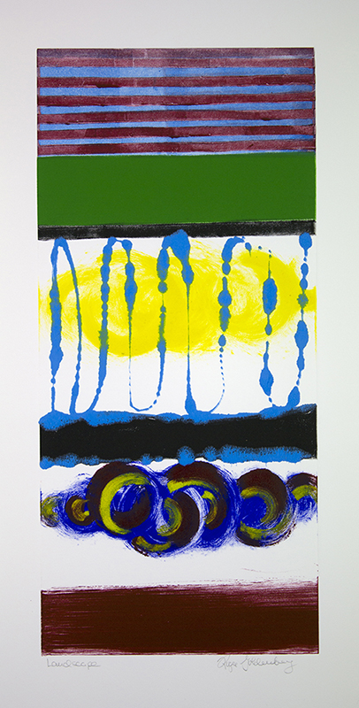 Roger Goldenberg's Visual Jazz New Monotypes Gallery B offers new monotypes that are inspired by Geology, Weather and Climate Change Landscape