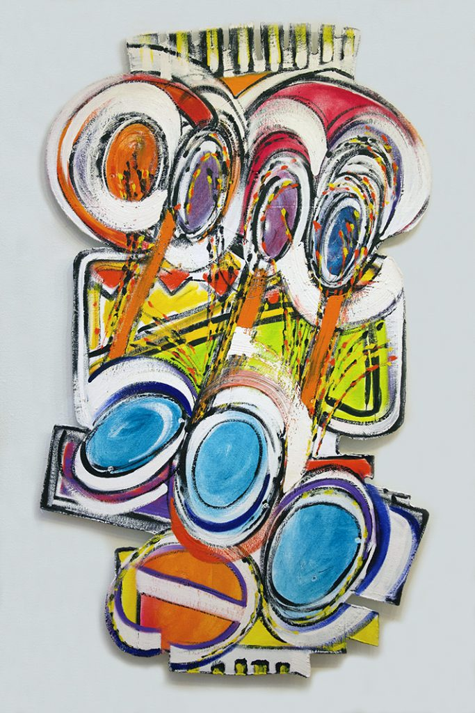 """Homage to the Earth: Fandangle Fireworks, Oil on canvas assemblage, 45"""" x 25"""" is a representation of Roger Goldenberg's extraordinary visual jazz painting. The inspiration of this American Abstract Expressionist painting is the original American artform Jazz, specifically traditional New Orleans Jazz"""